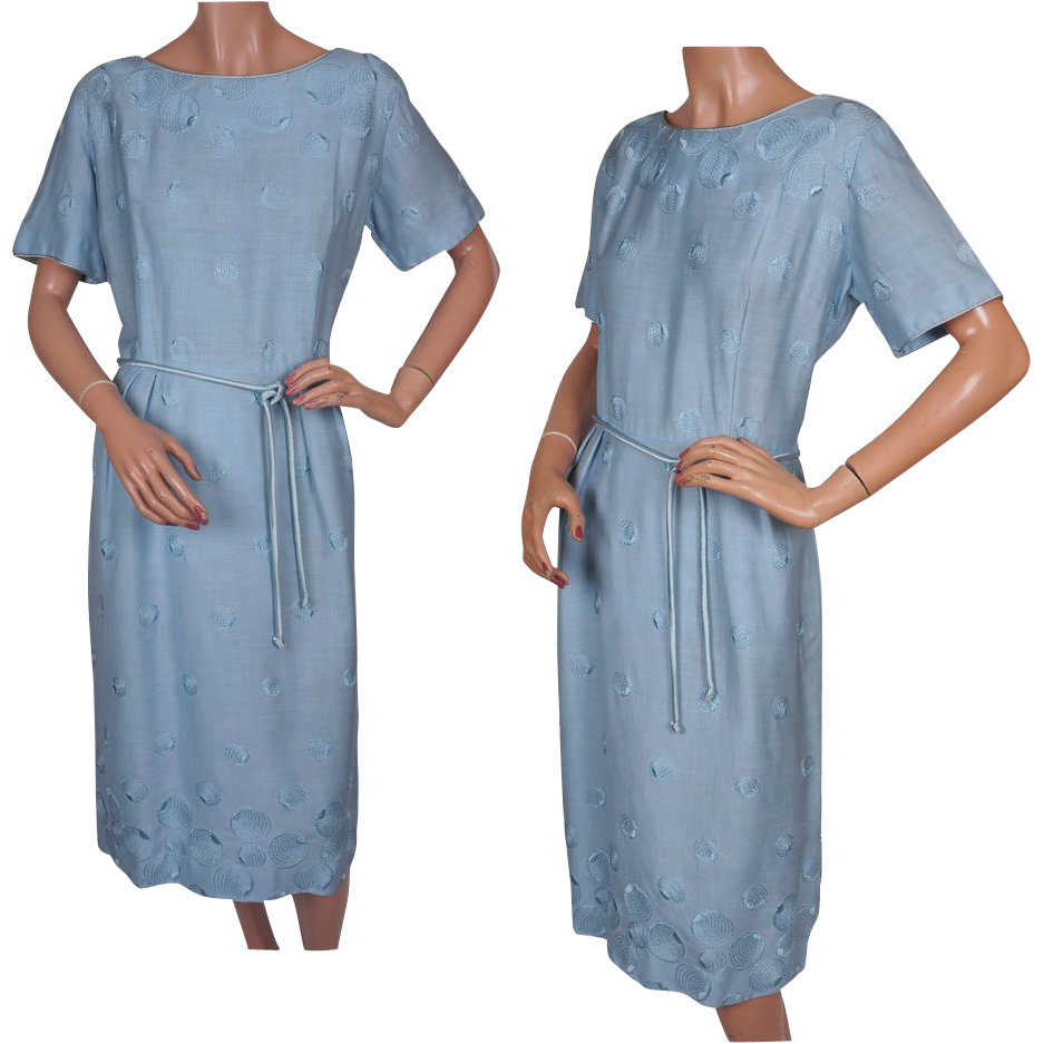 Vintage 50s Blue Linen Dress // 1950s Embroidered Circles Ladies ...