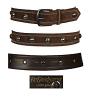 Vintage Yves Saint Laurent Brown Suede Belt // Rive Gauche Metal Studs & Stitching Made in France Size S / M