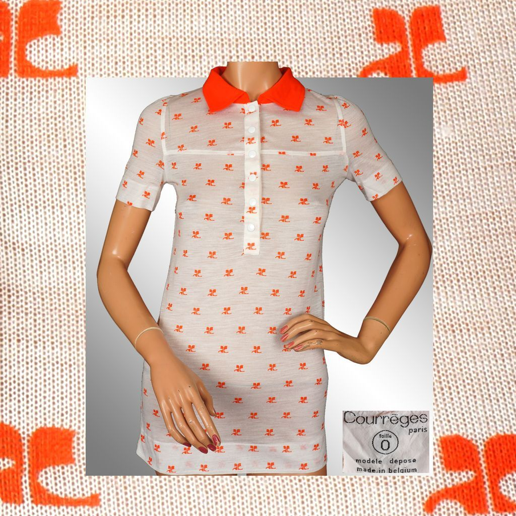 Vintage 70s Courreges Orange Logo Polo Top // 1970s Acrylic Shirt Blouse Ladies Size S