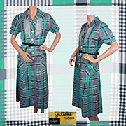 Vintage 1950s Gingham Check Pattern Day Dress - 1950s Juliana Frocks Cotton Ladies Size L