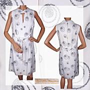 Vintage 60s Silver Tinsel White Party Dress Size M - L