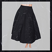 "Vintage 50s Black Sequin Circle Skirt // 1950s Sequined Wool Felt Size S 25"" Waist"