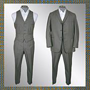 Vintage early 60s 3 Piece Mens Suit // 1960s Glen Check Light Wool British Invasion Mad Men Era Size M