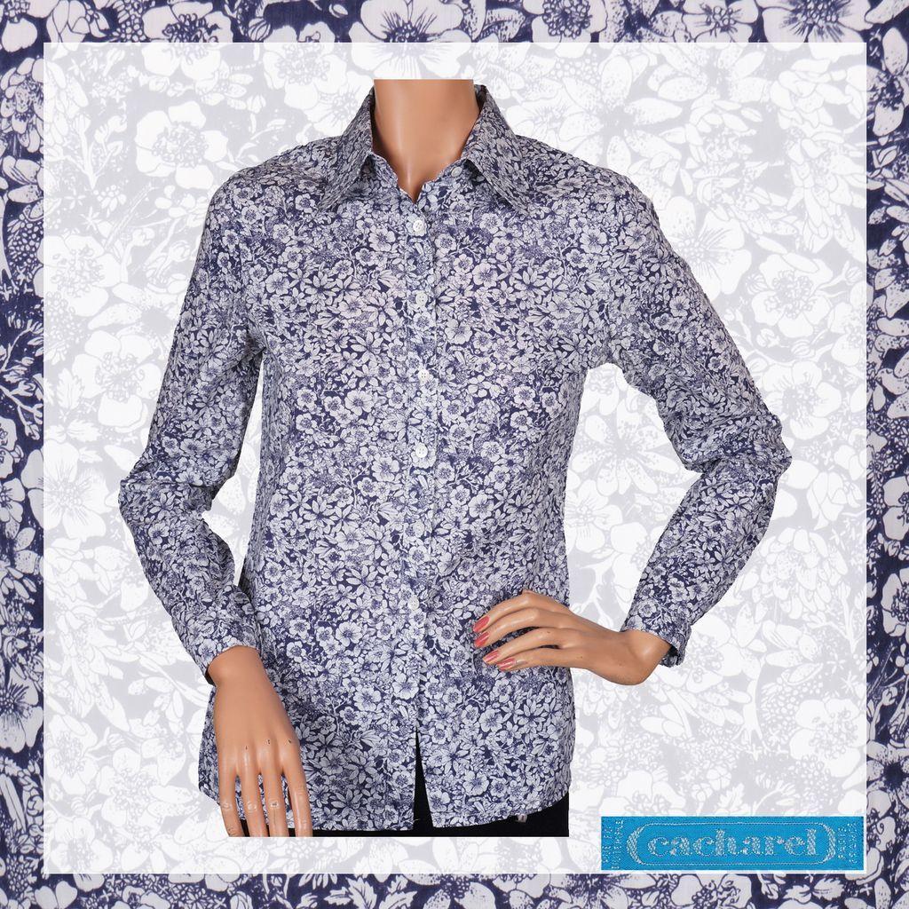 Vintage 70s Cacharel Paris Liberty Print Shirt Blouse // 1970s Floral Cotton Ladies Size S / M