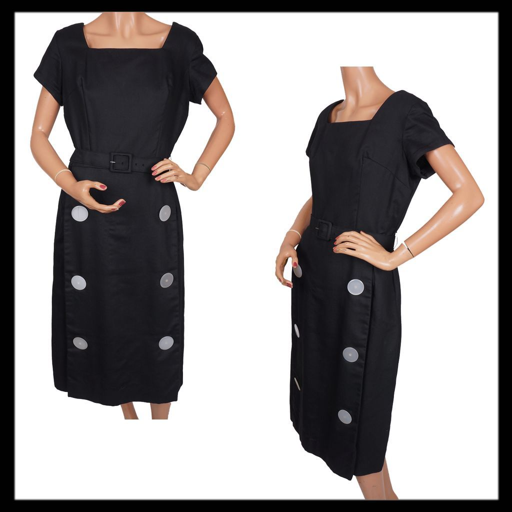 Vintage 50s Black Cotton Pique Dress // 1950s Marcella Weave w Large Buttons Ladies Size M / L