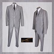 Vintage 1960s Mens Suit British Invasion Sharkskin Silver Gray Size M / L