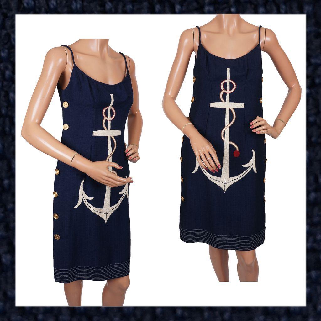 Vintage 60s Blue Linen Dress Cruise Wear Nautical Theme Anchor Ladies Size M