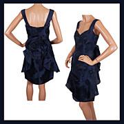 Blue Cocktail Dress 1960s Party Dress Floral Silk