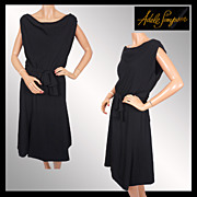 Vintage 50s Adele Simpson LBD Cocktail Dress Ladies Size M / L