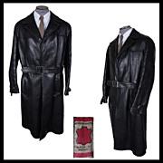 Vintage 1960s Mens Black Leather Coat M / L