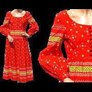 Vintage 1970s Oscar de la Renta Maxi Dress Red Cotton Peasant