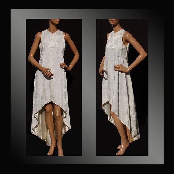 Vintage 1970s White Brocade Dress
