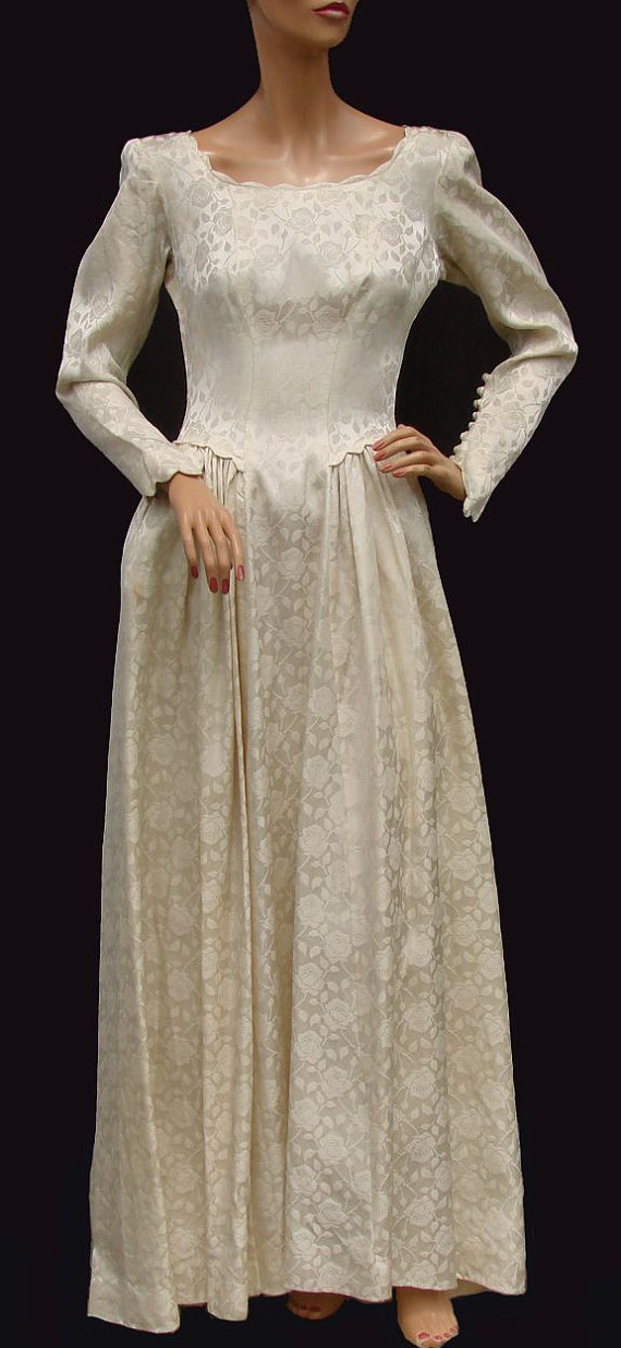 Vintage 1940s rose brocade satin wedding gown from for Vintage rose wedding dress