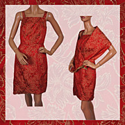 Vintage 60s Dress Red & Gold Brocade w Shoulder Wrap Ladies Size S