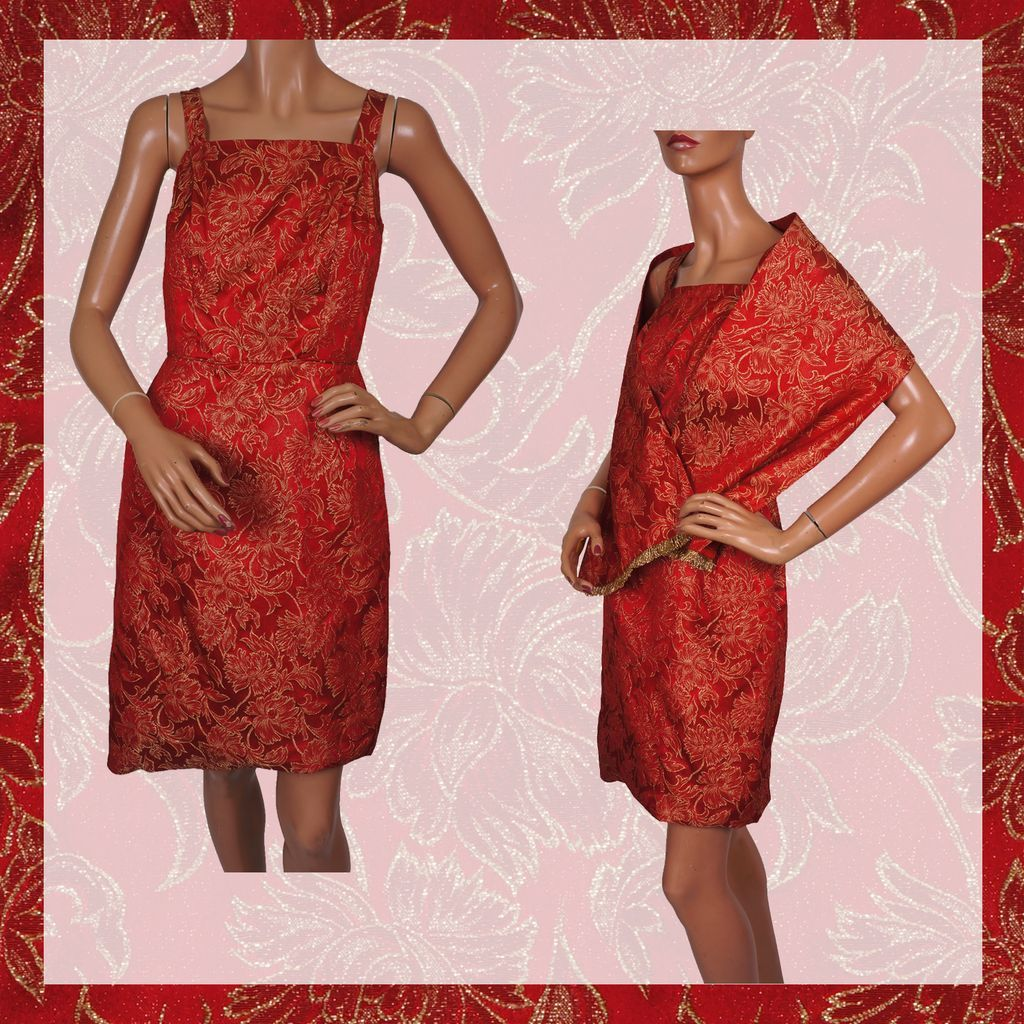 Vintage 60s dress christmas party cocktail style red amp gold w shoulder