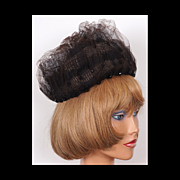 1960s Pillbox Hat Net Brown Voile Vintage Ladies Size S / M