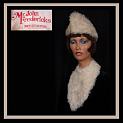 1960s Mongolian Lamb Vintage Hat & Bib Off White Mr John Fredericks Ladies Size S / M