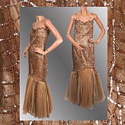 Vintage 1990s Ball Gown Gold Lace & Tulle & Sequin