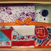 Art Deco Silk Hankies 1920s Handkerchiefs in Painted Box Unused 6 Vintage MIJ - Red Tag Sale Item