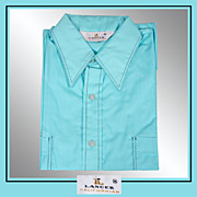 1960s Turquoise Shirt Casual Short Sleeved Mens Size M Vintage