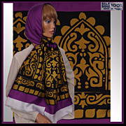 """Vintage French Silk Scarf Purple & Gold Ladies 74"""" Long 1970s Made in France"""