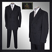 1960s Mod Mens Pin-Striped Wool Suit Dandy Double Breasted - M