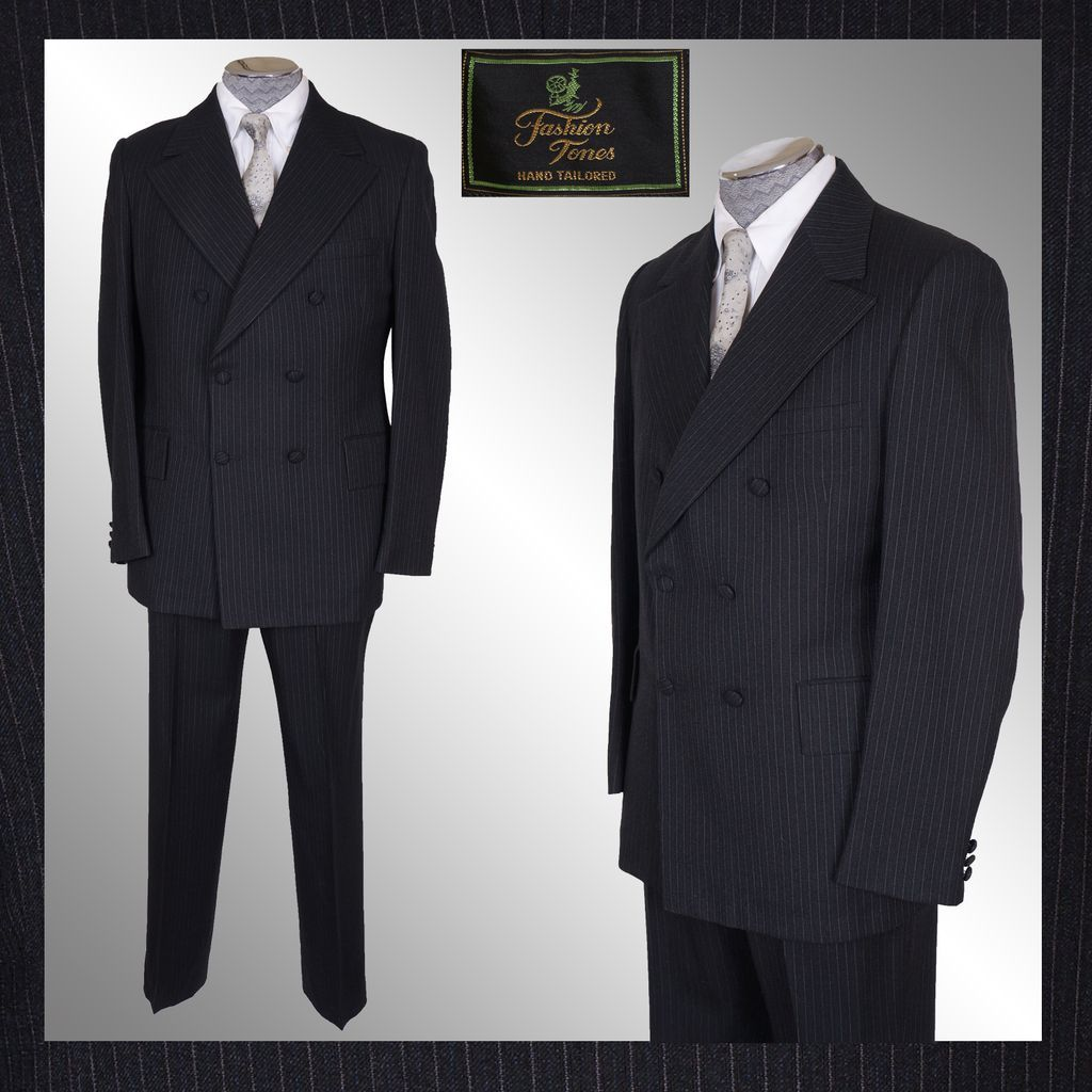 1960s Mod Mens Pin-Striped Wool Suit Dandy Double Breasted - M ...