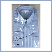 1980s Blue Stripe Dress Shirt NOS Long Sleeve French Cuffs Size M 15