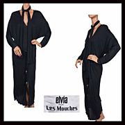 1970s Black Silk Jersey Dress Malcolm Starr Elvia For Les Mouches Ladies Size M Vintage - Red Tag Sale Item