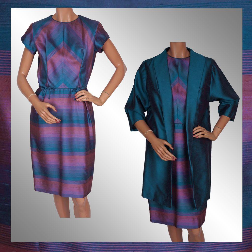 1960s Radiant Orchid Color Block Striped Silk Dress with Long Jacket Sharkskin Silk Size S Vintage