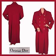 Vintage 1980s Christian Dior Coat Red Wool Ladies M - Size 10