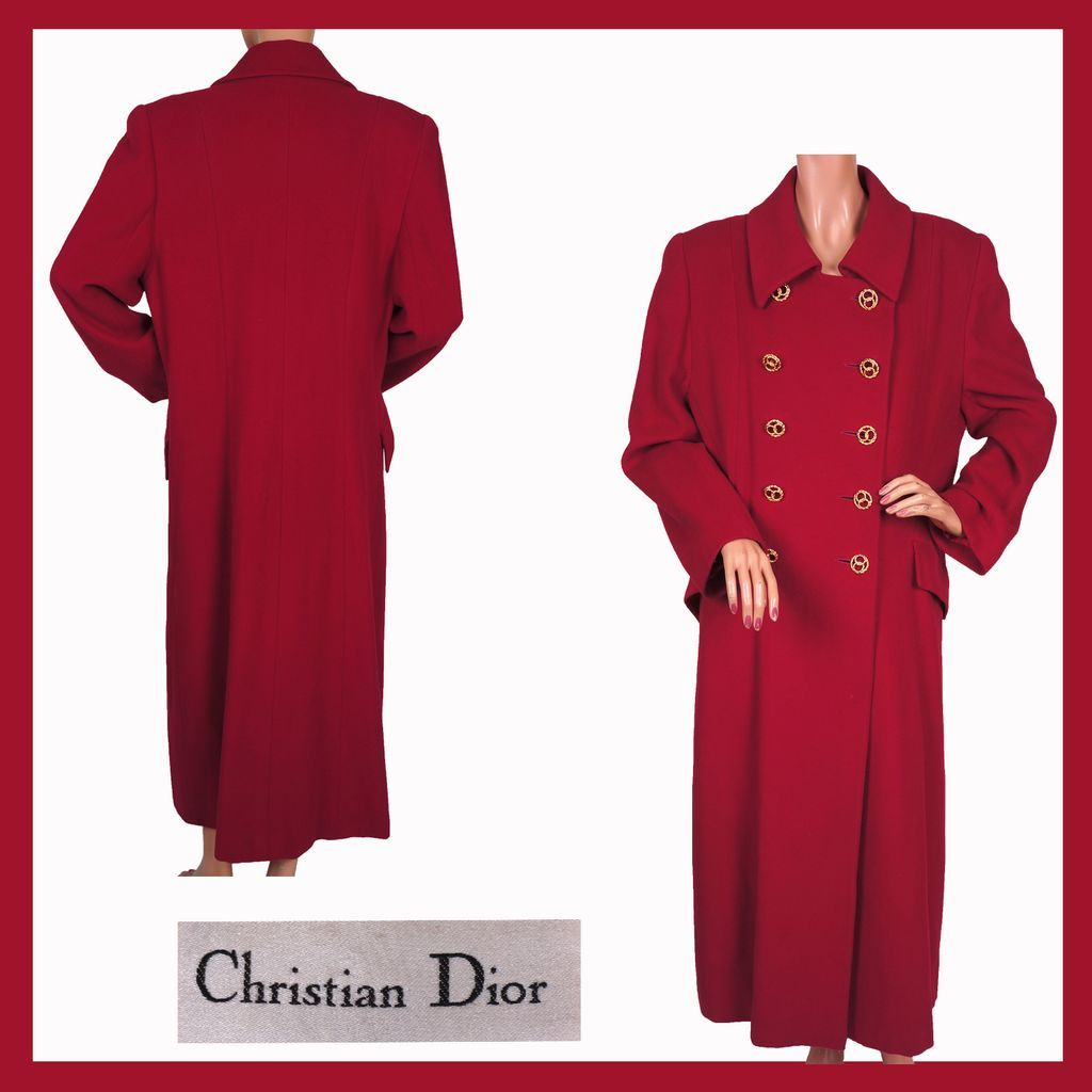 Vintage 1980s Christian Dior Coat Red Wool Ladies M - Size 10