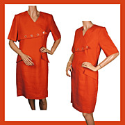 Vintage 80s New Wave Orange Linen Dress by Irving Samuel Size Medium