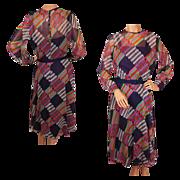 Vintage 1960s Organza Dress - Striped Geometric Print