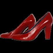 Vintage 80s Charles Jourdan Red Shoes Pumps High Heel 7 AA
