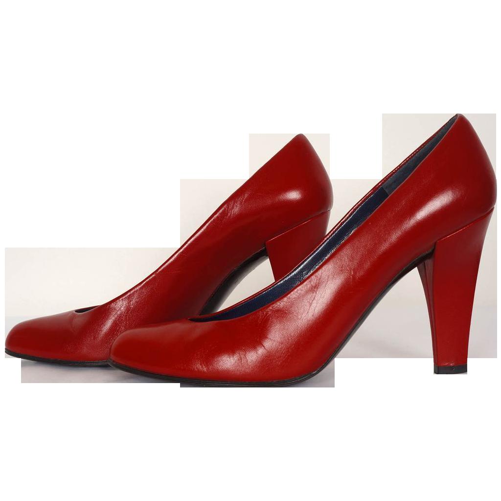 vintage 80s charles jourdan red shoes pumps high heel 7 aa. Black Bedroom Furniture Sets. Home Design Ideas
