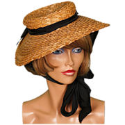 1930s Natural Woven Straw Hat Wide Brim