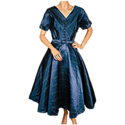 Vintage 50s Blue Taffeta Dress with Crinoline Skirt Ladies Size M / L