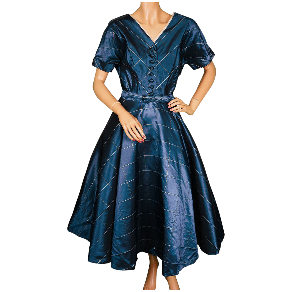 Vintage 1950s Blue Taffeta Dress - Party Dress - Size L