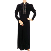 Vintage 1930s Black Velvet Dress with Rhinestones Size Medium