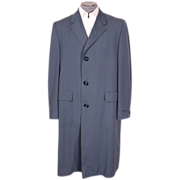 Vintage 1950s Mens Blue Gabardine Coat Spring / Fall Overcoat Size L 44