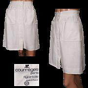 Vintage 70s Courreges White Linen Skirt with Hyperbole Label Size S