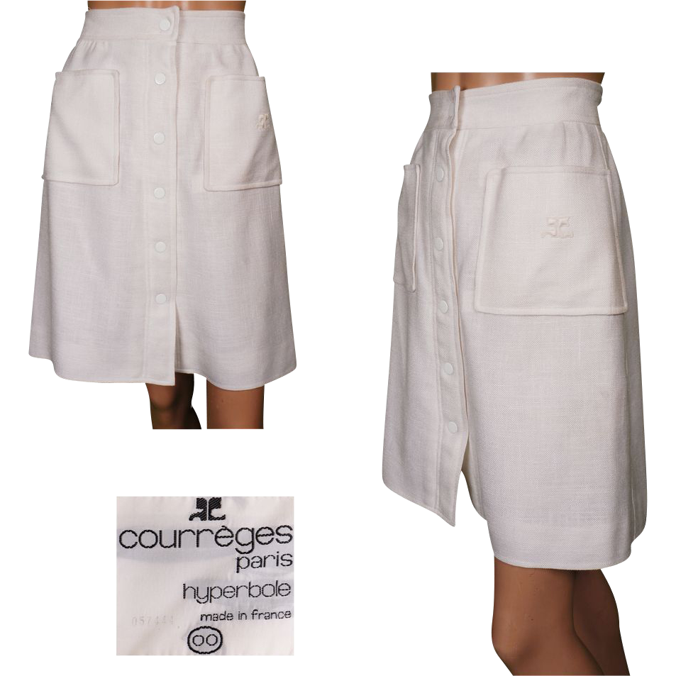 RESERVED Vintage 70s Courreges White Linen Skirt with Hyperbole Label Size S