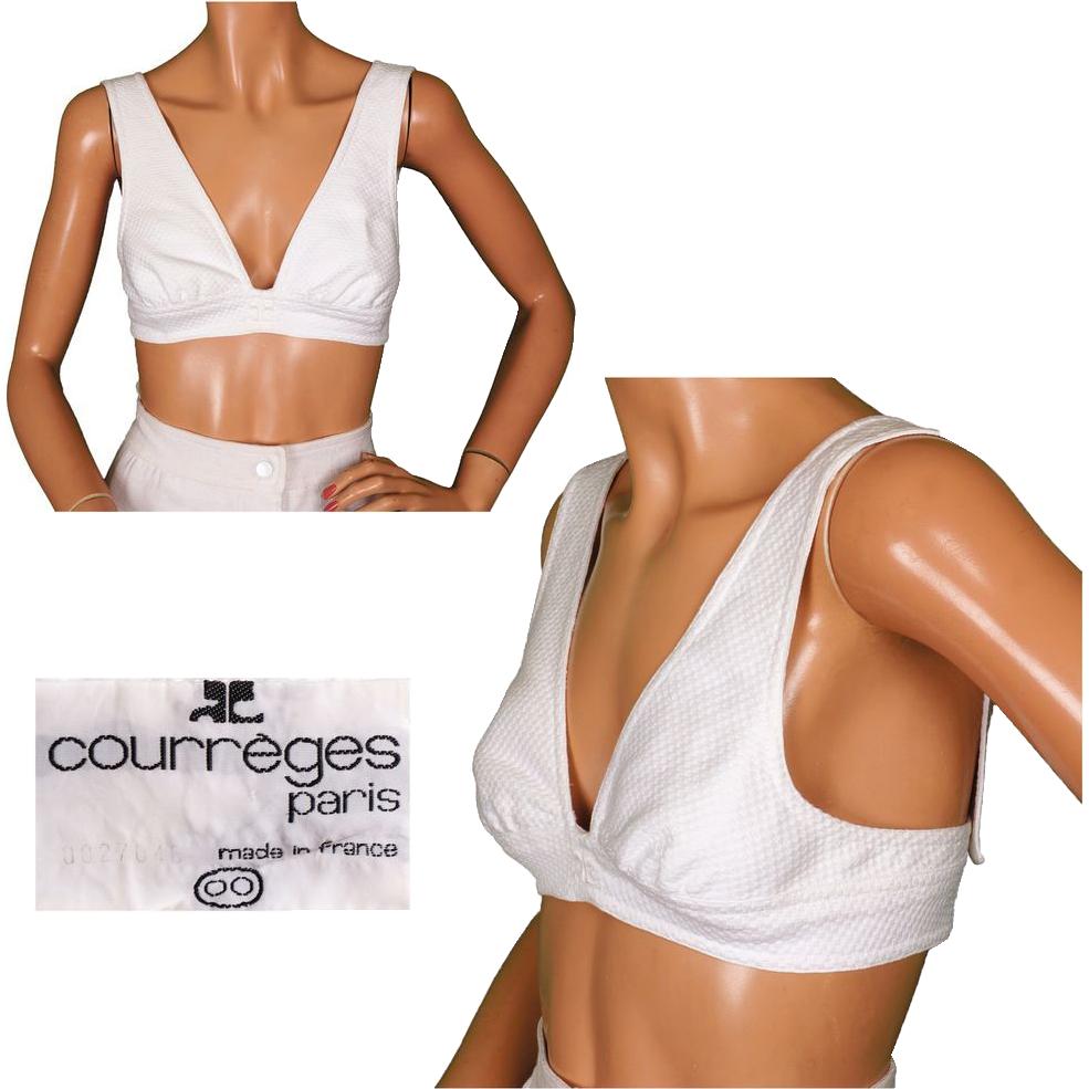 Vintage 70s Courreges White Cotton Bustier Top Size 00 Small