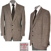 Vintage 1970s Harris Tweed Mens Jacket - Houndstooth -  St Michael - Size M 42 Chest