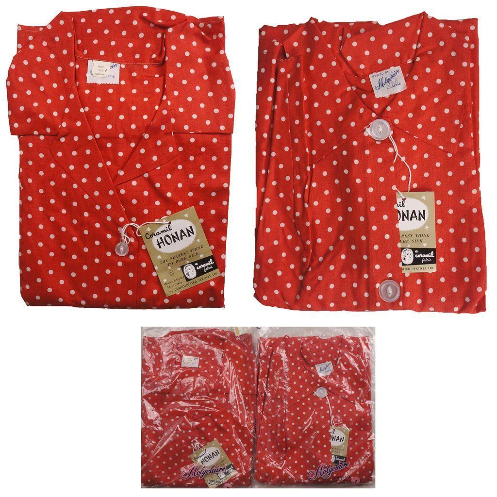 Vintage 1960s Pajamas & Dressing Gown Set Red & White Polka Dots ...
