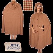 RESERVED Vintage 60s Herringbone Wool Cape Made in France Ladies Size M 10