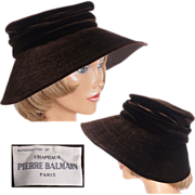 Vintage 50s Pierre Balmain Brown Velvet Hat Reproduction Model Ladies Size M