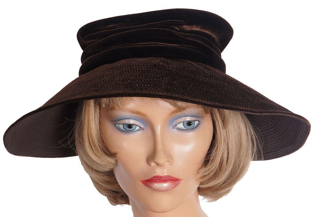 Vintage 50s Pierre Balmain Brown Velvet Hat Reproduction Model Ladies from poppysvintageclothing ...