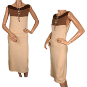 Vintage 1940s Boucle Wool Knit Dress in Brown & Pale Yellow Size Medium